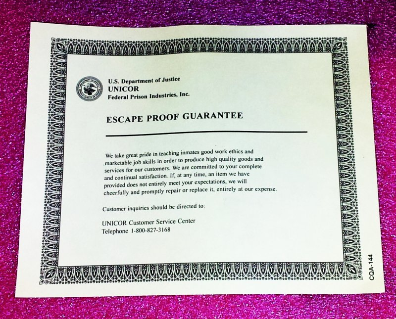 unicor federal prison industries escape proof guarantee