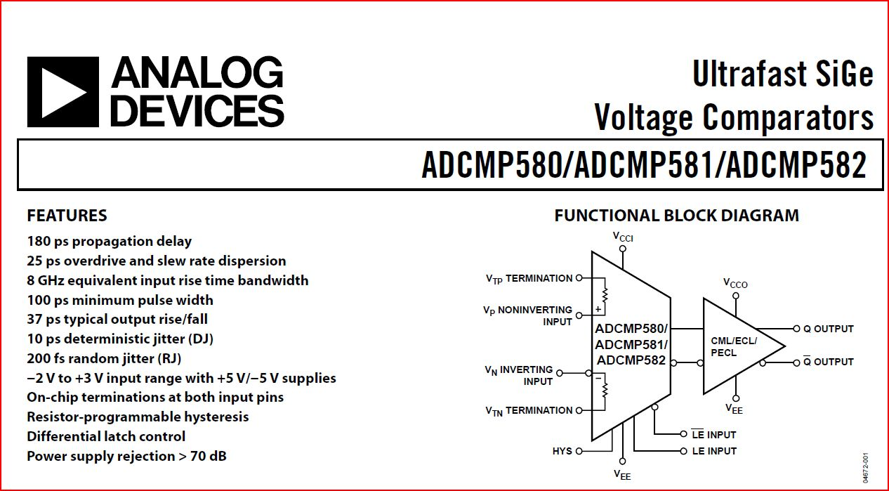 Adcmp580 Ultrafast Comparator Its Really Fast Simonsdialogs Block Diagram Features