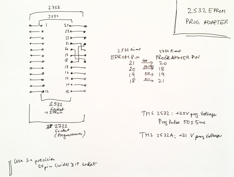 2532 eprom adapter for programming schematic