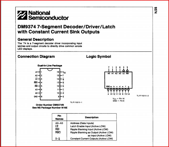436a dm9374 7seg decoder driver latch
