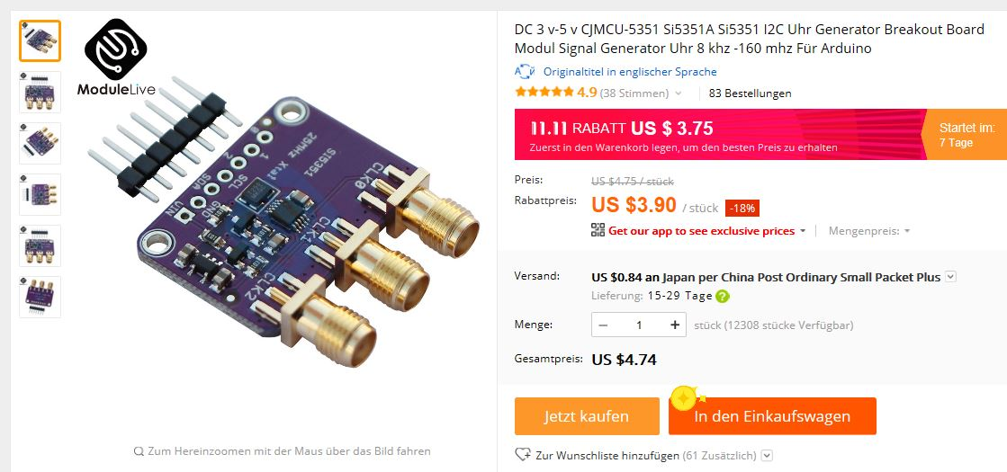 """Si5351A """"Any-Frequency CMOS Clock Generator and VCO"""